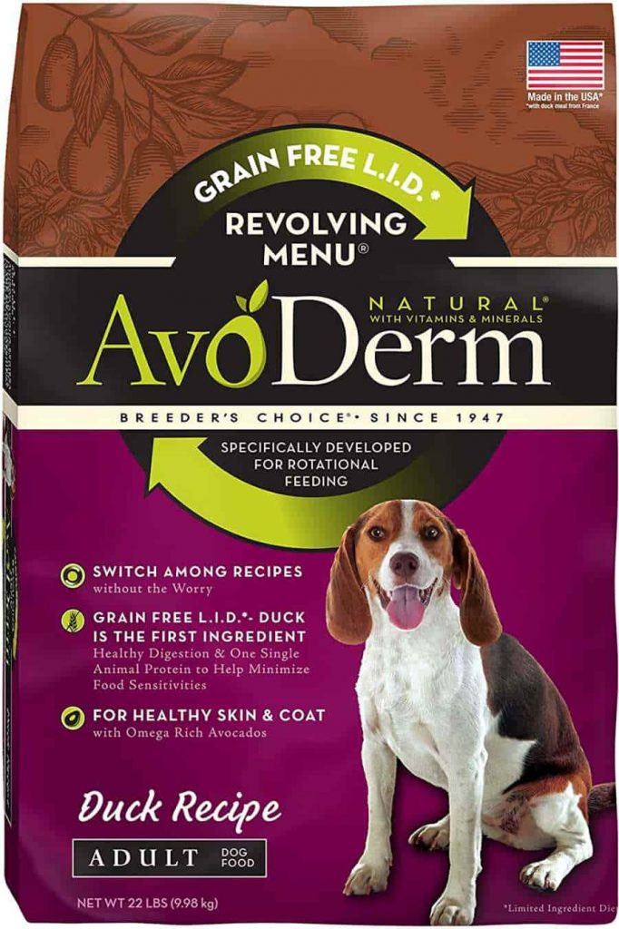 Avoderm dog food with duck