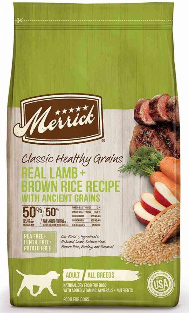 Merrick dry dog food with Grains