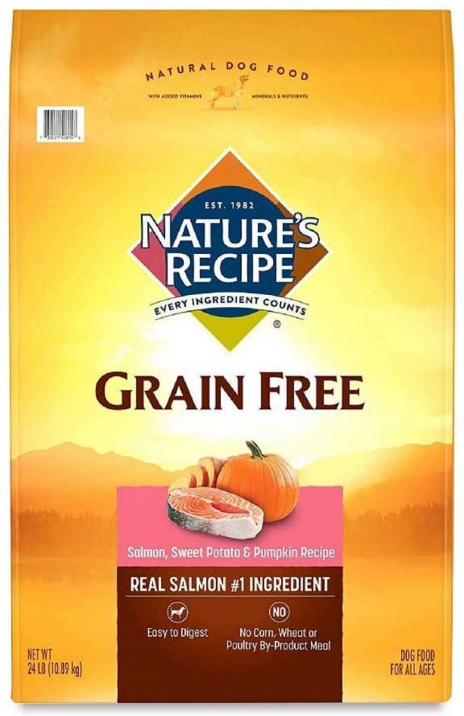 Nature's recipe dog food with salmon