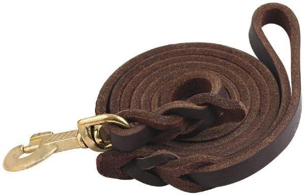 10ft leather dog leash