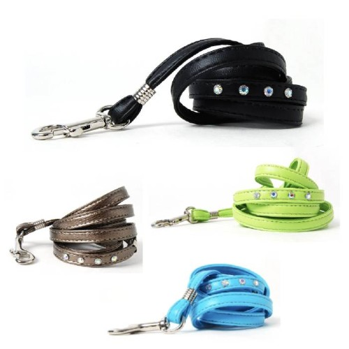 Crystal and Soft Vegan Faux Leather Dog Leashes