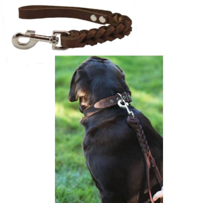 Braided Leather Short Dog Leash Brown