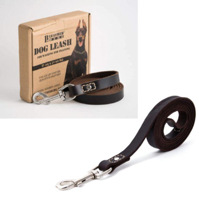 LEATHERBERG Leather Dog Training Leash 6 Feet Long