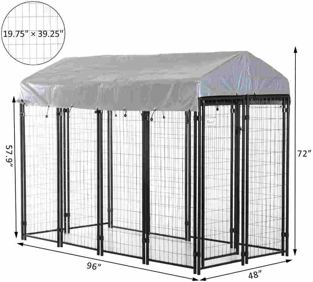 PawHut Large Outdoor Dog Kennel with UV-Resistant Oxford Cloth Roof