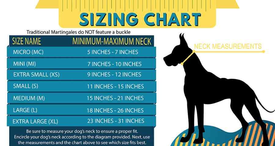 Martingale dog collar sizing chart