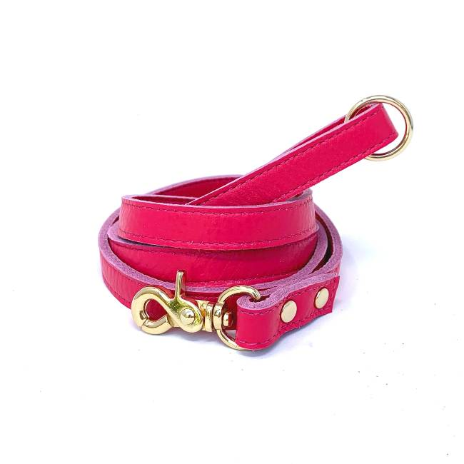 Muttropolis Cali Soft Leather Dog Leash In Pink
