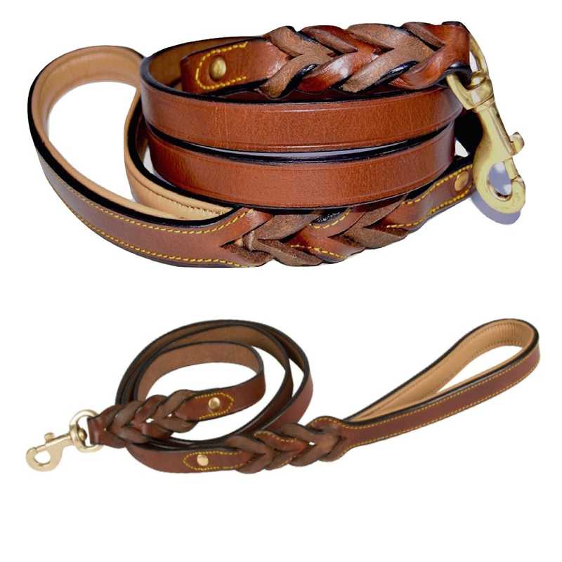 Soft Touch Collars - Leather Dog Leash with Padded Handle