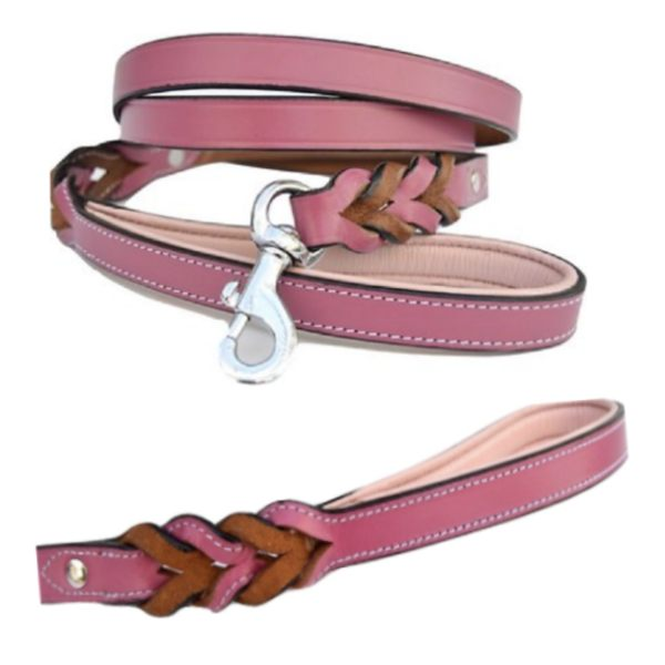 Soft touch braided leather leash