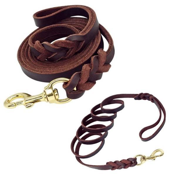 Heavy Duty Braided Leather Dog Training Leash