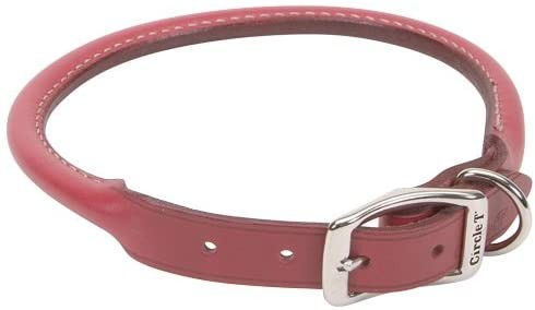 Round Leather Dog Collar in Pink