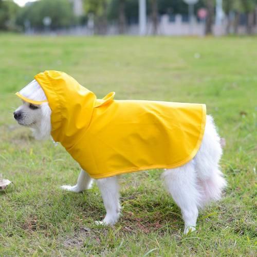 Yellow Dog Raincoat with Hood