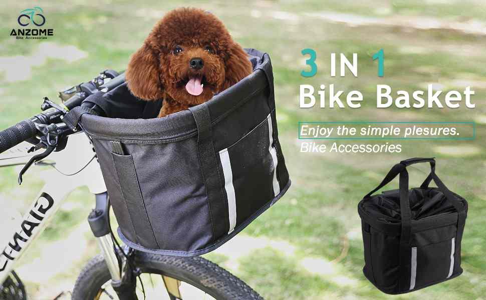 3-in-one dog bike basket