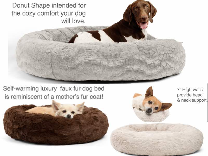 Best Friends by Sheri Lux Fur Calming Donut Dog Bed For Large Dogs