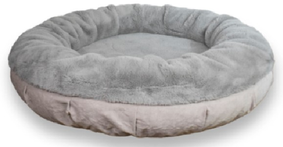 Bully Bed Faux Fur Round Calming Dog Bed Gray Color