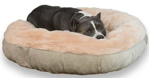 Bully Bed Faux Fur Round Calming Dog Bed Peach Color