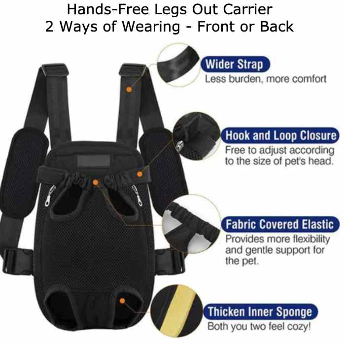 Handsfree Legs Out Front & Back Dog Backpack Carrier