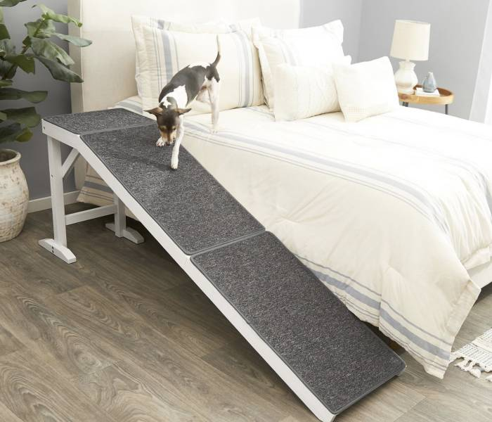 Wooden Carpeted Dog Ramp For Bed or Couch