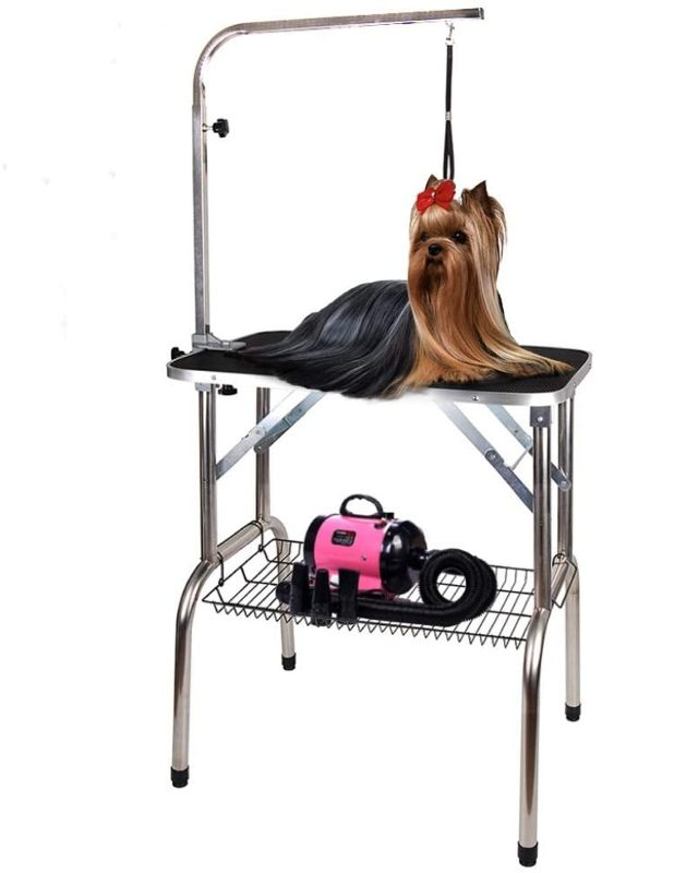 Polar Aurora Heavy Duty Stainless Steel Foldable Dog Grooming Table with Adjustable Arm & Mesh Tray