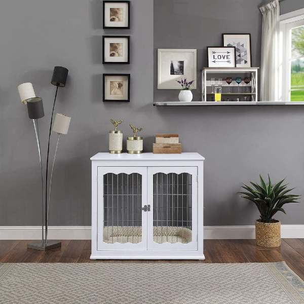unipaws Wooden End Table Dog Kennel