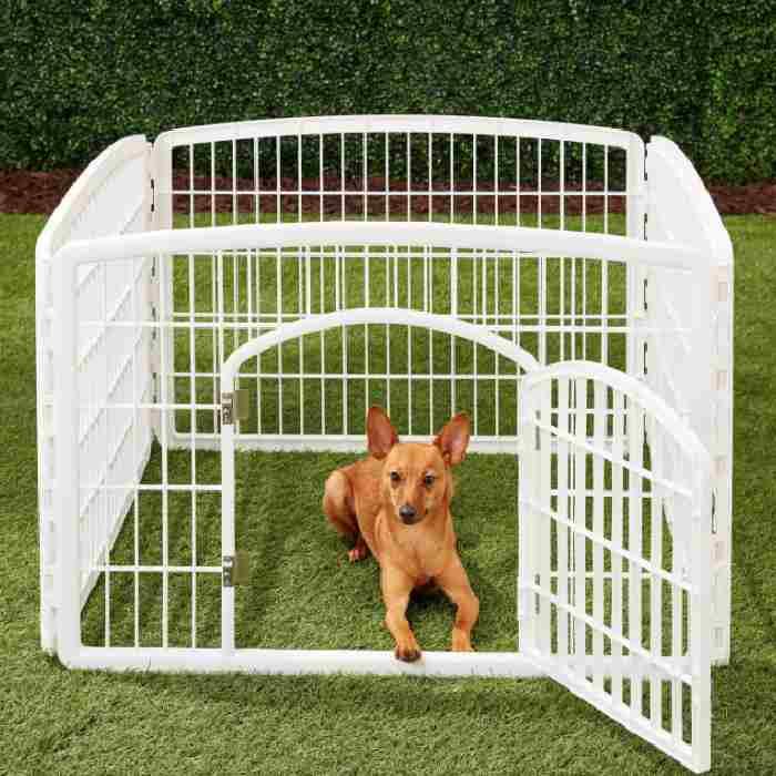 IRIS 4-Panel Plastic Exercise Dog Playpen with Door