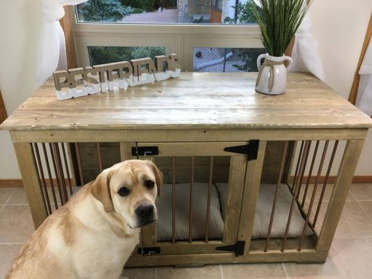 Furniture wooden crate for large dog